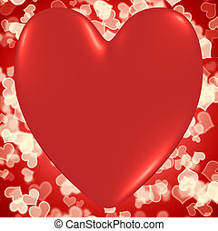 Heart With Red Hearts Bokeh Background Shows Valentines And Loving