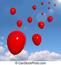 Festive Red Balloons In The Sky For Celebration