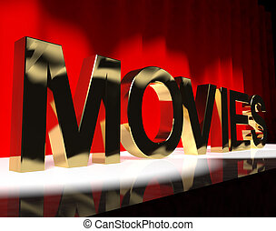 Movies Word On Stage Showing Cinema And Hollywood