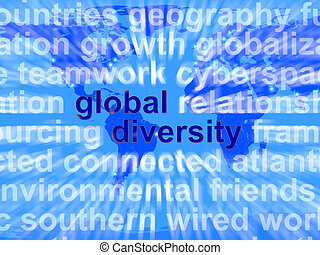 Global Diversity Words Showing Diverse Ethnic People...