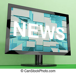 News Word On Monitor Showing Media And Information