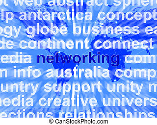 Networking Word Over World Background Showing Relationships And