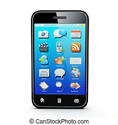 smartphone - 3D Illustration of generic smartphone Note: All...