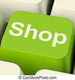 Shop Computer Key In Green For Commerce Or Retail Sales