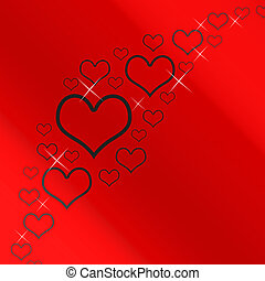Red And Silver Hearts Background With Copyspace Showing Love Romance And Valentine