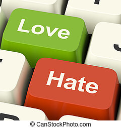 Love Hate Computer Keys Showing Emotion Anger And Conflict -...