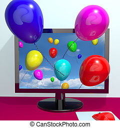 Balloons In The Sky And Coming Out Of The Screen For Online Greeting Or Www Message