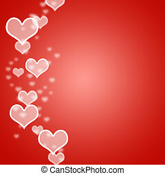 Red Hearts Bokeh Background With Blank Copyspace Shows Love And Romance