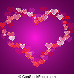 Red And Mauve Hearts Background With Copy Space Showing Love Romance And Valentine