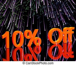 10%, desligado, com, fogos artifício, mostrando,...