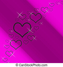 Mauve And Silver Hearts Background With Copyspace Shows Love Romance And Valentines