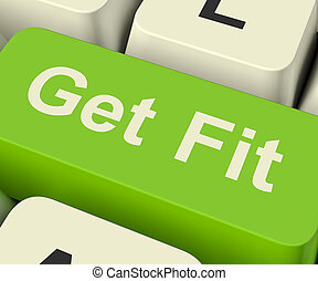 Get Fit Computer Key Showing Exercise And Working Out For...