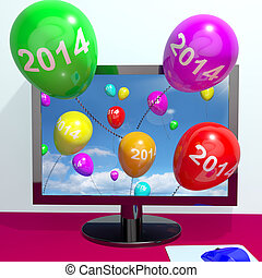 2014 Balloons From Computer Represents Year Two Thousand And...