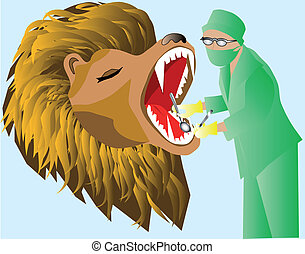 dentist and lion - Leo heals the teeth at the dentist
