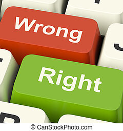 Right And Wrong Computer Keys Shows Results Validation Or Decisions