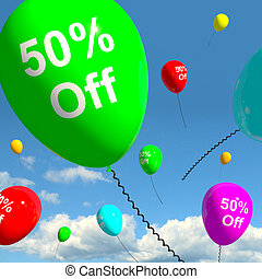 Balloon With 50% Off Showing Sale Discount Of Fifty Percent