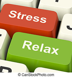 Stress Relax Computer Keys Shows Pressure Of Work Or...