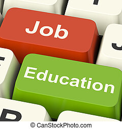 Job And Education Computer Keys Shows Choice Of Working Or...