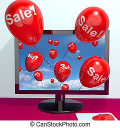 Sale Balloons Coming From Computer Shows Internet Promotion Discount And Reductions