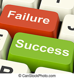 Success And Failure Computer Keys Shows Succeeding Or...