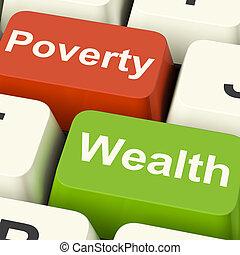 pobreza, y, riqueza, computadora, llaves, actuación,...