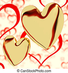 Gold Hearts On A Heart Background Showing Love Romance And Romantic Feeling