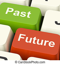Past And Future Keys Showing Evolution Aging Or Progress -...