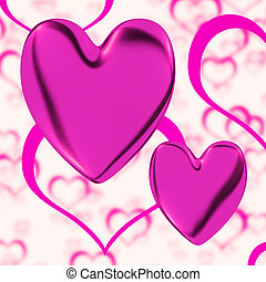 Mauve Hearts On A Heart Background Showing Love Romance And Romantic Feelings