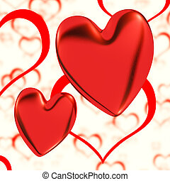 Red, Hearts On A Heart Background Showing Love Romance And Romantic Feelings