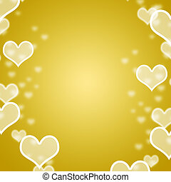 Yellow Hearts Bokeh Background With Blank Copy Space Showing Love Romance And Valentines