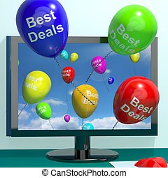 Best Deals Balloons From Computer Representing Bargains And...