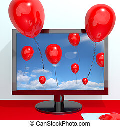 Festive Red Balloons In The Sky And Coming Out Of Screen For Online Celebrations
