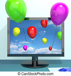 Festive Colorful Balloons In The Sky And Coming Out Of Screen For Online Celebrations