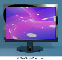 TV Monitor On Stand Representing High Definition Television...