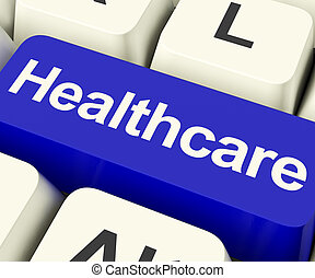 Healthcare Key In Blue Showing Online Health Care -...