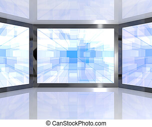 Big Blue TV Monitors Wall Mounted Representing High...