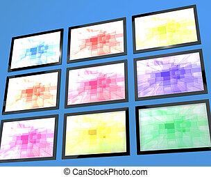 Nine TV Monitors Wall Mounted In Different Colors Representing High Definition Televisions Or HDTV