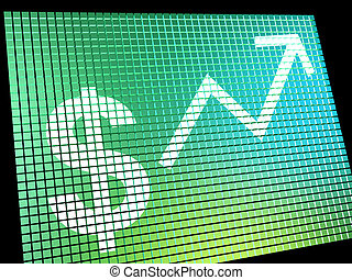 Dollar Sign And Up Arrow Monitor As Symbol For Earnings Or...
