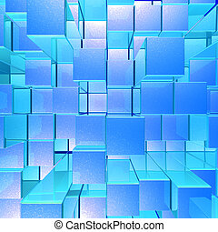 Bright Glowing Blue Opaque Metal Background With Cubes And...