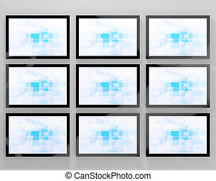 TV Monitors Wall Mounted Representing High Definition...