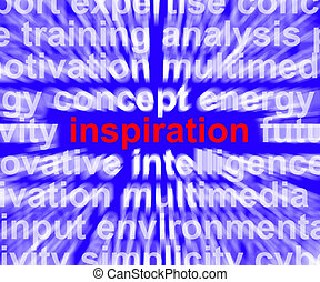 Inspiration Word Zooming Shows Positive Thinking And Encouragement