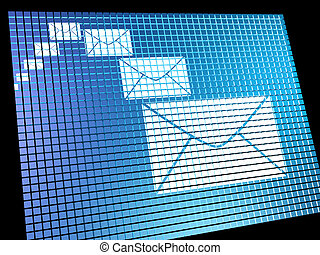 Email Envelopes Being Received On Computer Screen Shows...