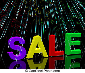 Sale Word And Fireworks Showing Promotion Discount And Price Reductions