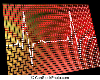 Heart Rate Monitor Showing Cardiac And Coronary Health -...