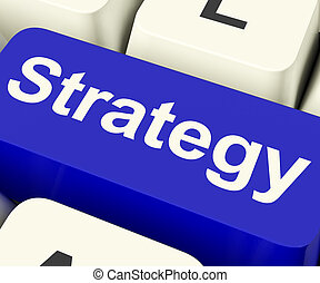 Strategy Computer Key For Business Solutions Or Goals