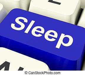 Sleep Computer Key Showing Insomnia Or Sleeping Disorders...