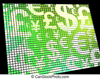 Currency Symbols On Compter Screen Showing Exchange Rate And Finances
