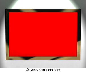 TV Monitor With Red Blank Copyspace Or Copy Space - TV...