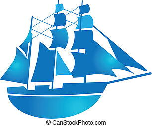 Pirate ship in blue gradient