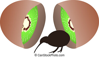 Kiwi bird comming from kiwi fruit